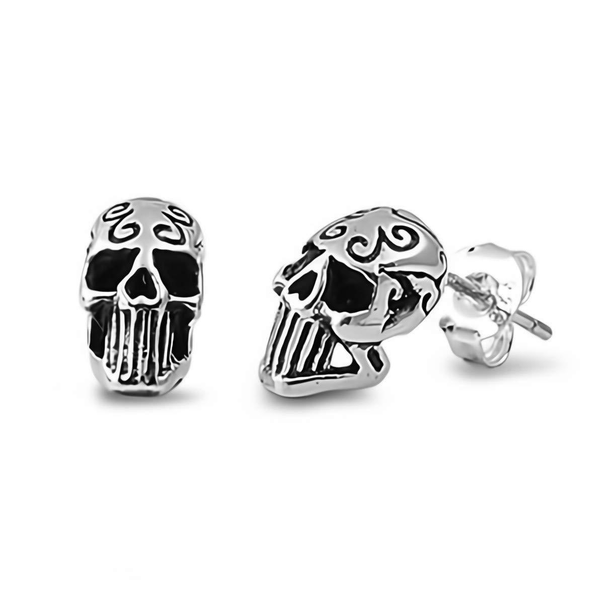 Glitzs Jewels 925 Sterling Silver Small Stud Earrings for Women and Girls Skull Head