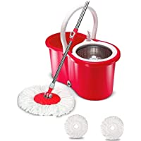 Easy Magic Floor Mop 360 Degree Bucket 2 Heads Microfiber Spin Spinning Rotating Head (Color May Vary)