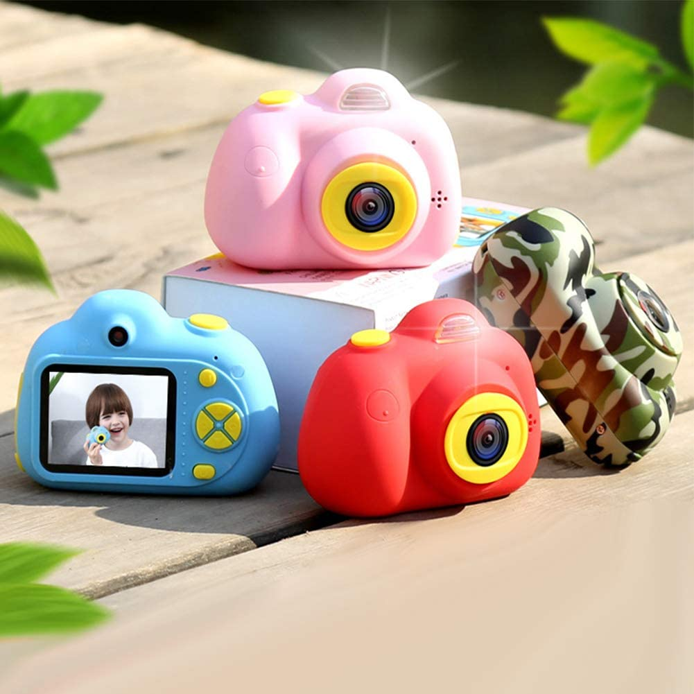 HongHong Kids Camera Digital SLR Sports Dual Lens Shockproof Mini Child Cameras Gifts for Girls Boys Toys Outdoor Play Red
