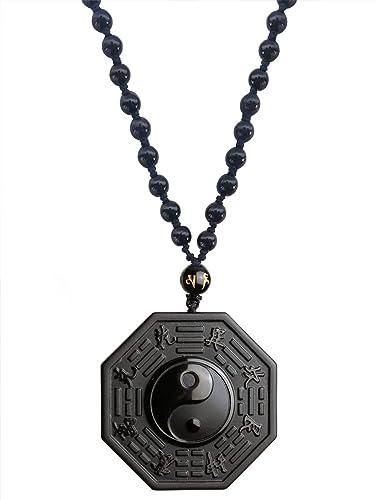 Buy mehrunnisa natural obsidian stone yin yang pendant necklace mehrunnisa natural obsidian stone yin yang pendant necklace unisex jwl2256 aloadofball Images