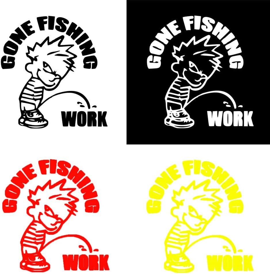 Car Sticker Gone Fishing Work Kid Funny Car-Styling Decals Reflective Sticker Decoration