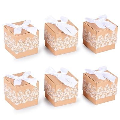 (5 X 5 X 5CM) 100PCS Boîte à Dragée Vintage en Papier Kraft avec Papillon Noeud Blanc Bonbonnère Decoration Mariage Fête Baptême
