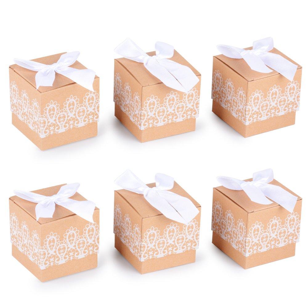 100piezas(5*5*5cm) Cajas Papel Kraft de Boda Bautizo Regalo Caramelos Dulces Bombones Chuches Peladillas Recuerdo Fiesta Cumpleaños Encaje Impreso + Lazos ...