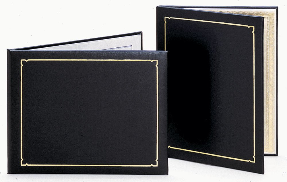 Premier Certificate Holder, Padded Cover, Black w/Gold Foil - Qty 20 (11'' x 8-1/2'')