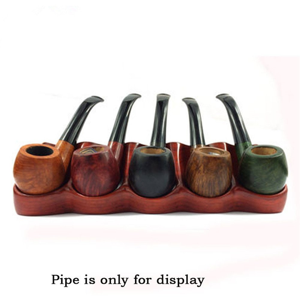Tobacco Pipe Rack Red Rosewood Tobacco Pipe Holder for 5 Tobacco Pipes