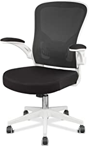 OUTFINE Office Task Desk Swivel Chair with Flip-up Arms, Adjustable Lumbar Support and Adjustable Height (White)