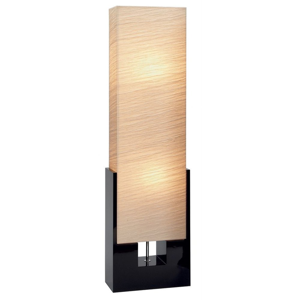 48'' Contemporary Living Room Floor Lamp with Square Beige Shade & Black Wooden Base