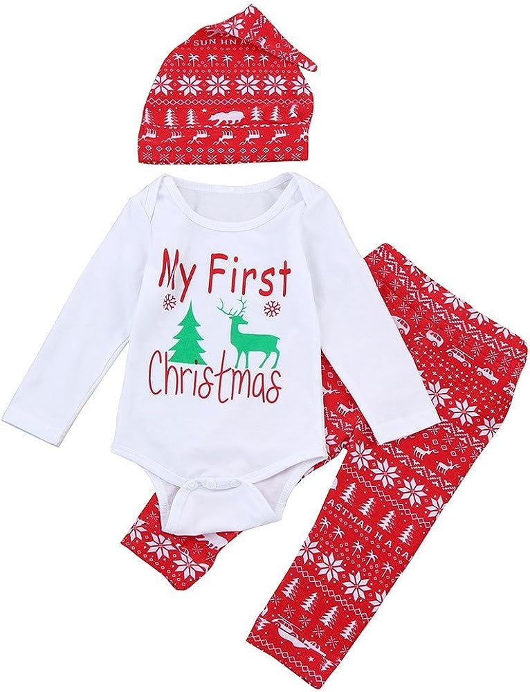Dreamyth Fashionable Christmas Newborn Kids Baby Girls Boys Outfits Clothes Elk Romper+Pants+Hat Set