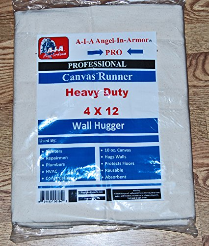Heavy Duty Canvas Drop Cloth/Runner/4 X 12/Professional Series/10 Oz. by A-I-A Angel-In-Armor