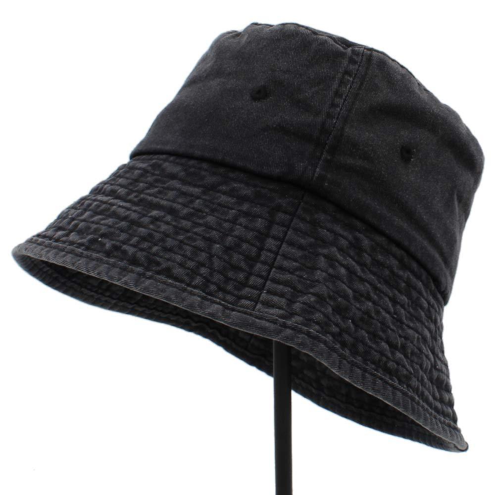 hat Cotton Women Men Wide Brim Bucket Hat Outdoor Fishing Wide Brim Hat UV Protection Cap Men Hiking Sun Hats cap (Color : Blue, Size : 56-59cm) BCL