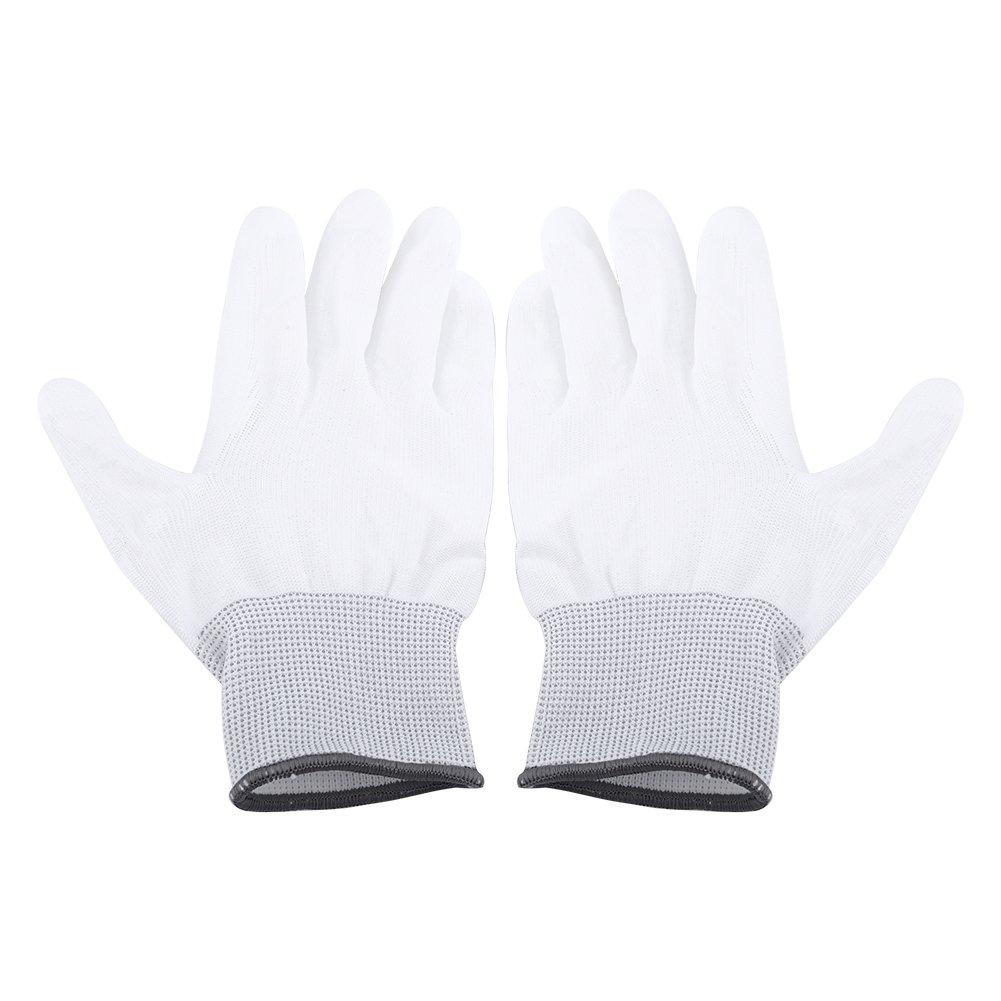 1 Pair Anti Static Antiskid Glove PU Coated Palm Finger Part for PC Computer Phone Repair(L Grey)