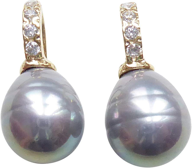 Pendientes de perlas pequeñas de color gris claro, pendientes colgantes de perla de cristal barroco de plata de ley chapados en oro con circonitas, diseñador, Heide Heinzendorff
