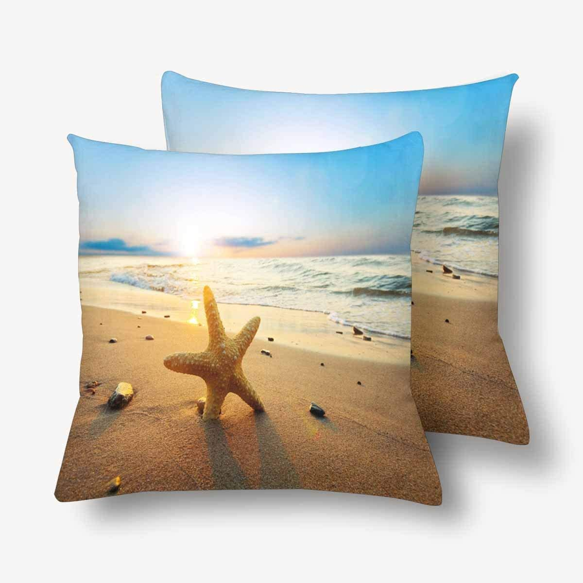 Amazon Com Gooesing Portrait Studio Ocean Starfish Beach Summer Time Nice Looking Pillow Case Pillow Cover 50 Cotton 50 Polyester Size 24x24 Inches Set Of 2 Home Kitchen