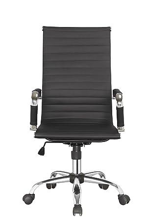 Meubletmoi - Silla de Oficina ergonómica Negro y Cromo - Asiento, diseño Moderno, Elegante y épuré - City: Amazon.es: Hogar