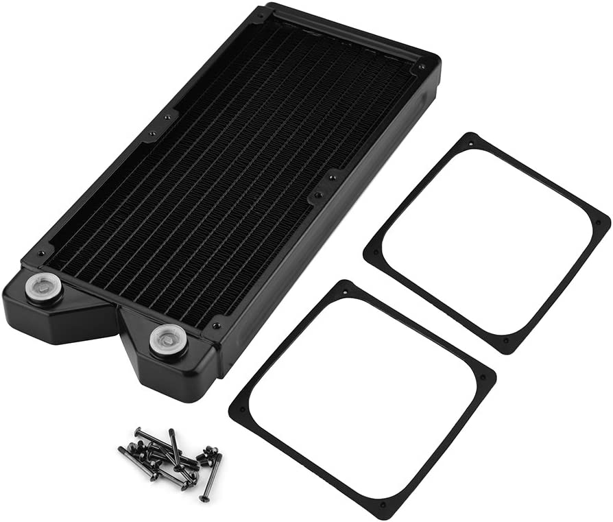 Wendry Copper Heat Exchanger Radiator G1//4 Copper Water Heat Radiator Exchanger Water Cooling Computer Heat Sink Universal Used in PC Water Cooling System 240