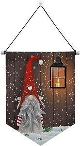 Yulife Christmas Snowman Gnome Door Hanging Signs Winter Snowflake Xmas Lantern Welcome Wall Door Signs Banner Front Door Porch Indoor Outdoor Yard Bedroom Decorations with Hang Rope 13x18 inch
