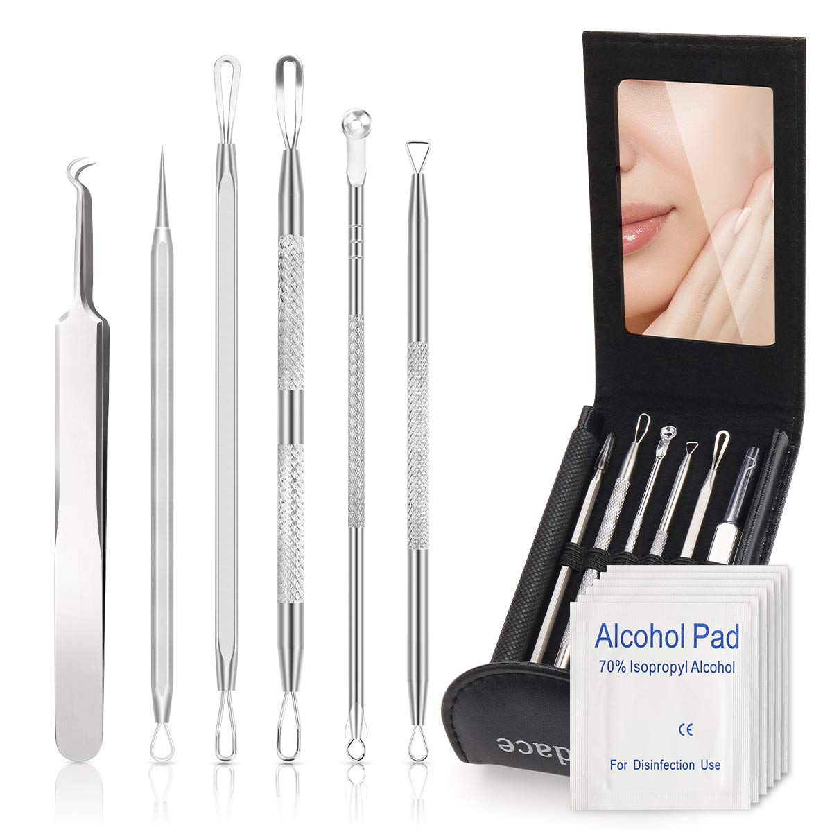 Pimple Popper Tool Kit,Blackhead Remover kit,6 PCS Ingrown Hair Removal Kit,White heads Removers,Pore Extraction Tool,Facial Skin Acne Zit Tools With A Leather Bag