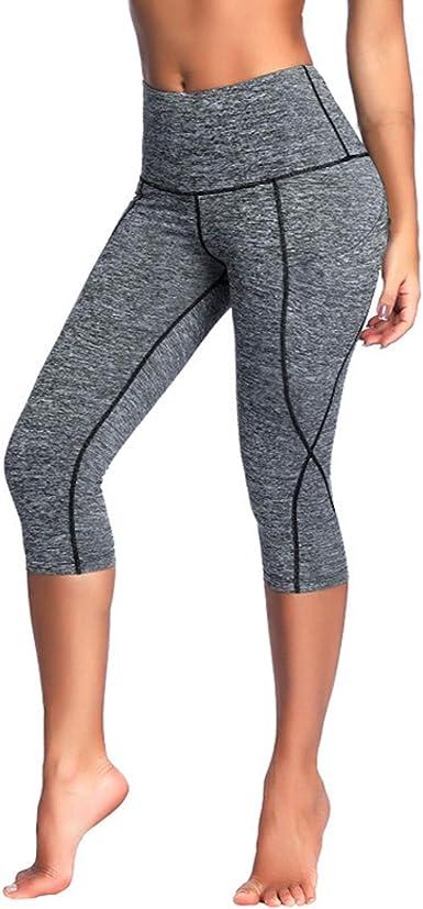 WSLCN Femme Legging de Sport 34 Taille Haute Yoga Gym
