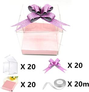 "4""x4""x4"" Clear Candy Apple Boxes Set With Hole Top for Caramel Apples, Ornaments,Treats. Pack of 61 Including Boxes X20,Bases X20,Bowknots X20,Ribbon X20m"