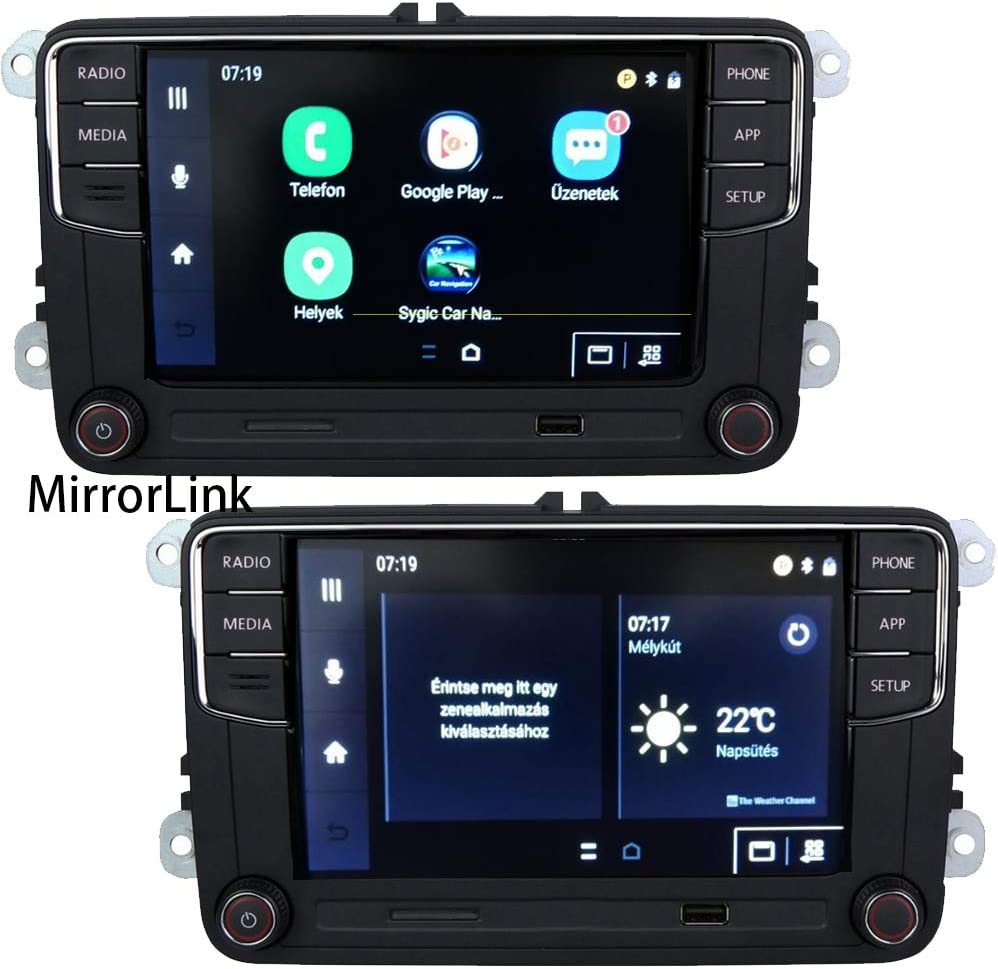 SCU-MAXCON MP5 Player Car Stereo Radio Receivers AI Voice Control FM//AM//RDS SD USB AUX RVC SWC BT MirrorLink Touch TFT Screen+Mic+Steering Wheel Remote Control