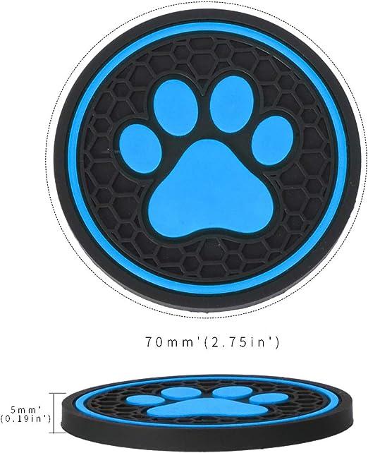 Blu, 2 Pezzi MLING Auto Sottobicchieri Portabevande Anti-Polvere Tappetini Antiscivolo Modello di Zampa di Cane 2,75 Pollici Auto Accessori