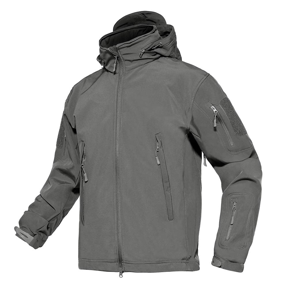 TACVASEN Men's Tactical Concealed Hooded Softshell Fleece Military Jacket Coat ADLTJ-110