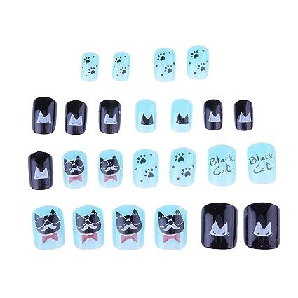 Gowind6 - Set de 24 uñas postizas para pintar uñas, diseño de dibujos animados (