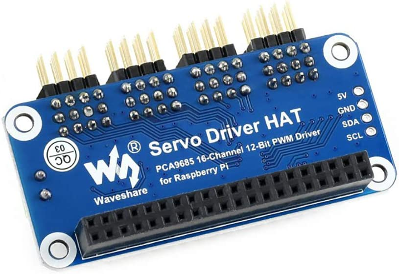 12-bit I2C Interface etc B MG996R MG90S waveshare Servo Driver HAT for Raspberry Pi//Jetson Nano PCA9685 Driver 16-Channel Right Angle Pinheader Supports SG90