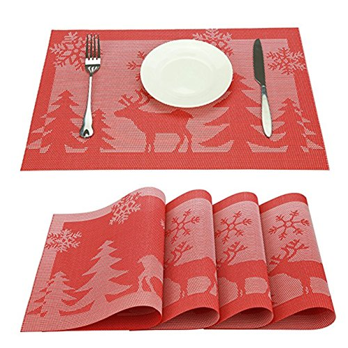 Durable PVC Non-Slip Heat-resistant Waterproof Reusable Placemats For Great Dinning Experience Stain-resistant Reindeer and Snowflake Design Table Mats For Christmas Set of 6 (Red Reindeer 6 Pcs)