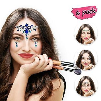 1c542bfb2 Bee banna 6 Sheets Face Stickers Mermaid Gems Glitter Festival Body Jewels  Stickers Crystals Bindi Rainbow