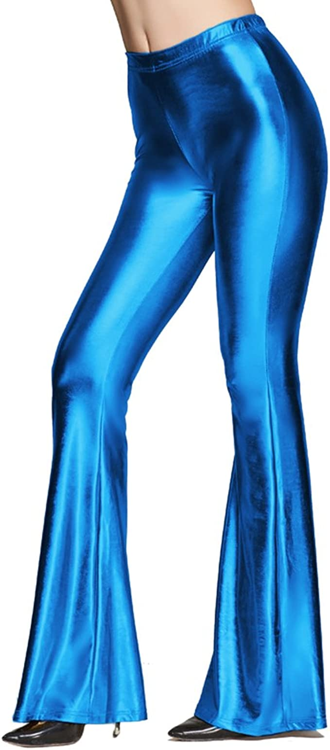 Women Smooth Solid Color High Waist Faux Leather Slim Bell-bottom Trousers Pants