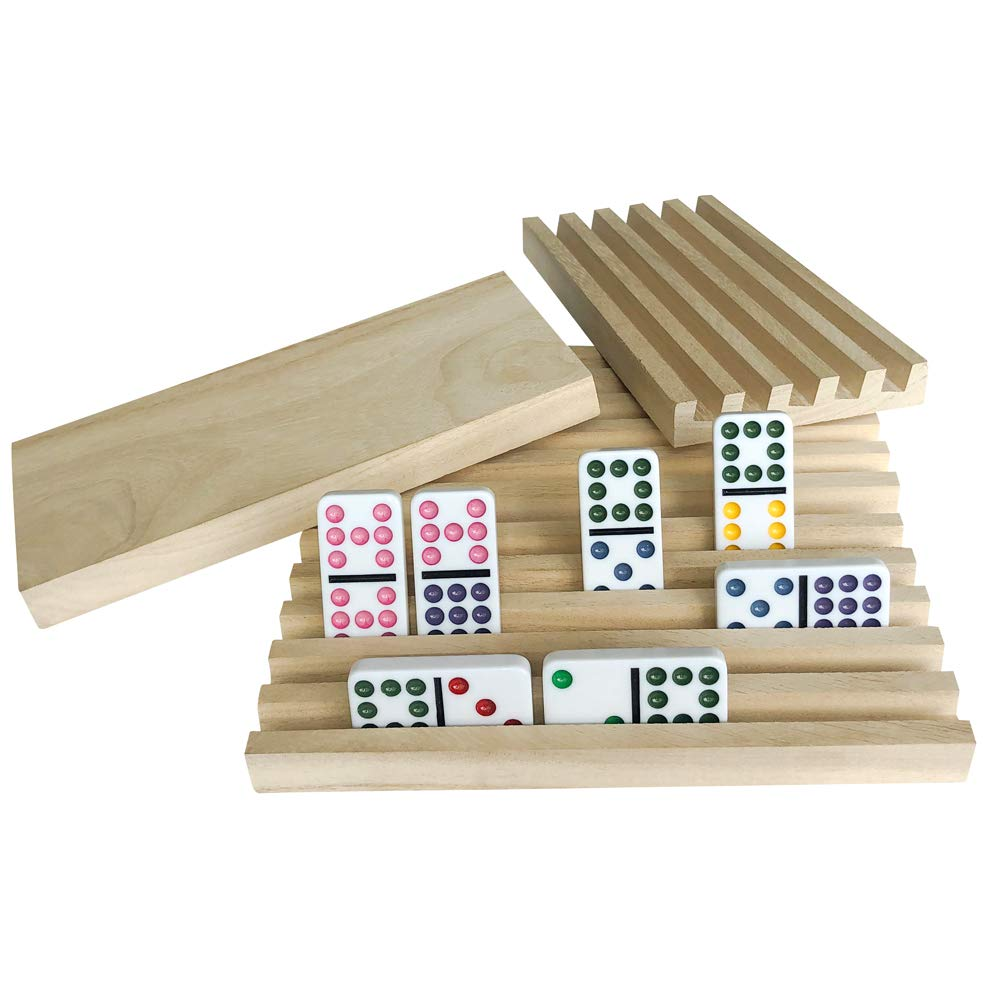 YH Poker Set of 4 Solid Wood Domino Trays, Domino Tiles Rack, Domino Holder