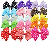 Qandsweet Baby Girl Ribbon Grosgrain Hair Bows with Clips Bobby Pins