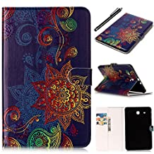 Galaxy Tab E 9.6 Tablet Case, Fashionable Cute Cartoon Pattern Folio Card Slots Kickstand Multifunction Holster Tablet Case Cover for Samsung Galaxy Tab E 9.6 inch SM-T560/T561 - Romantronic + Touch Pen, Y06