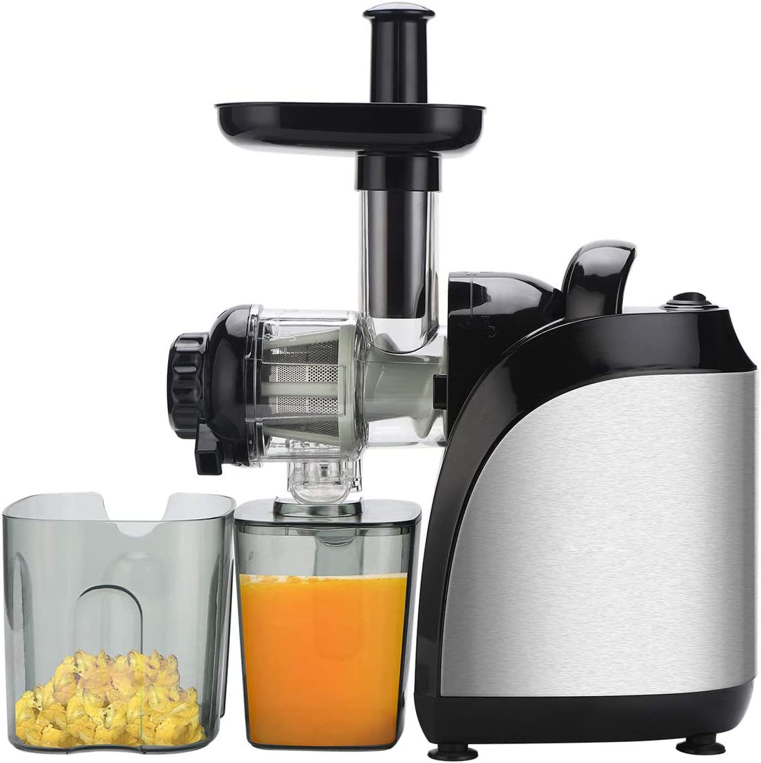 Electric Juicer, DEPFALL ALW-J16 Juice Extractor, 120V 150W 2-speed Mechanical Electric Food Processor, Juicing Machine with 800ml Juice Cup 1000ml Pomace Cup, Stainless Steel