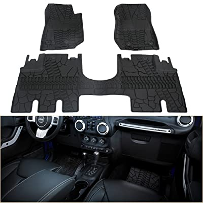 WINUNITE Front and Rear Black Slush Floor Mats for 2014-2020 Jeep Wrangler JK JKU 4 Door Unlimited All Weather Guard TPE Floor Carpet Liner Set for Jeep Wrangler - Not for JK 2 Door & JL Model: Automotive