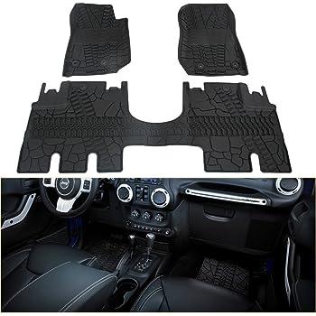 WINUNITE Front And Rear Black Slush Floor Mats For 2014 2018 Jeep Wrangler  JK 4 Door Unlimited All Weather Guard TPE Floor Carpet Liner Set For Jeep  ...