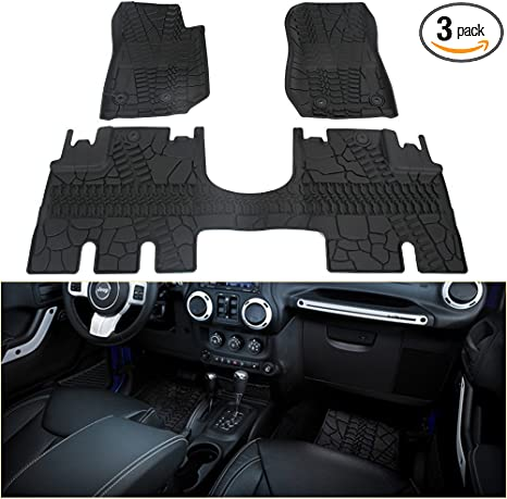 Fit for 2014-2018 Jeep Wrangler JK 4 Door Unlimited Slush Floor Mats All Weather