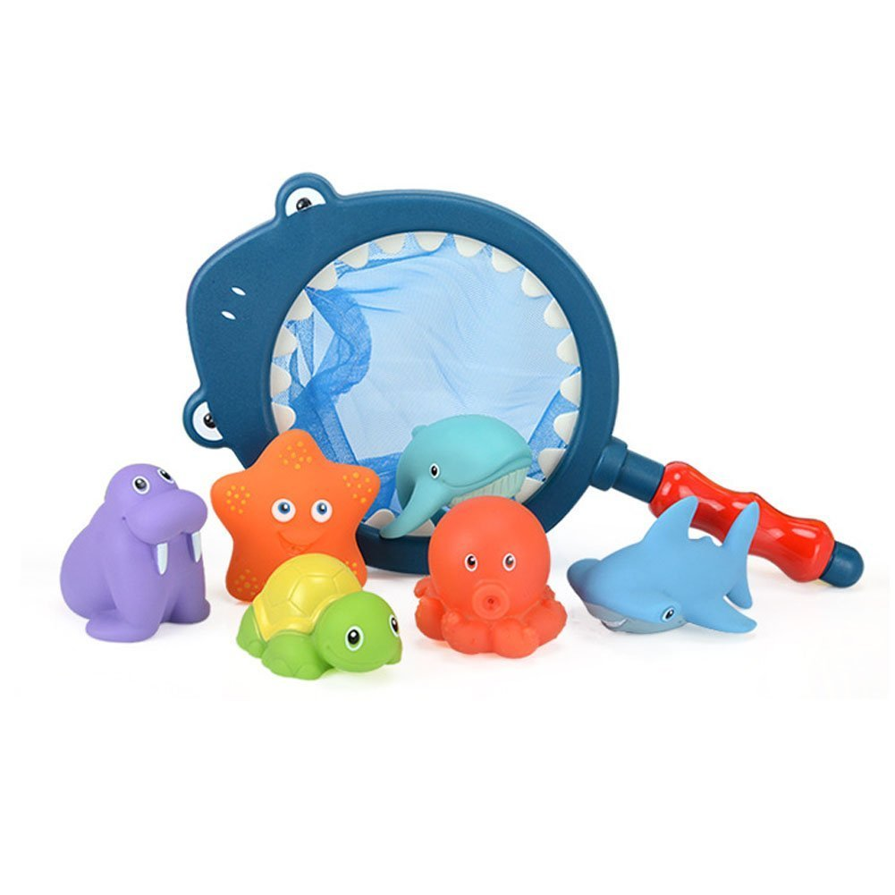 Amazon.com: Mehome Bath Toy with Fishing Net Floating Animals Water ...