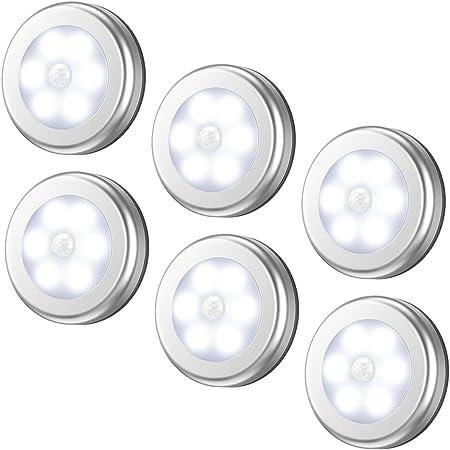 6PCS 0.3W Wireless Kitchen Counter 5 LED Under Cabinet Closets Puck Light Lamp