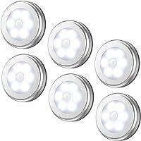 AMIR Motion Sensor Light, Cordless Battery-Powered LED Night Light, Stick-anywhere Closet Lights Stair Lights, Puck Lights, Safe Lights for Hallway, Bathroom, Bedroom, Kitchen, etc.(White - Pack of 6)
