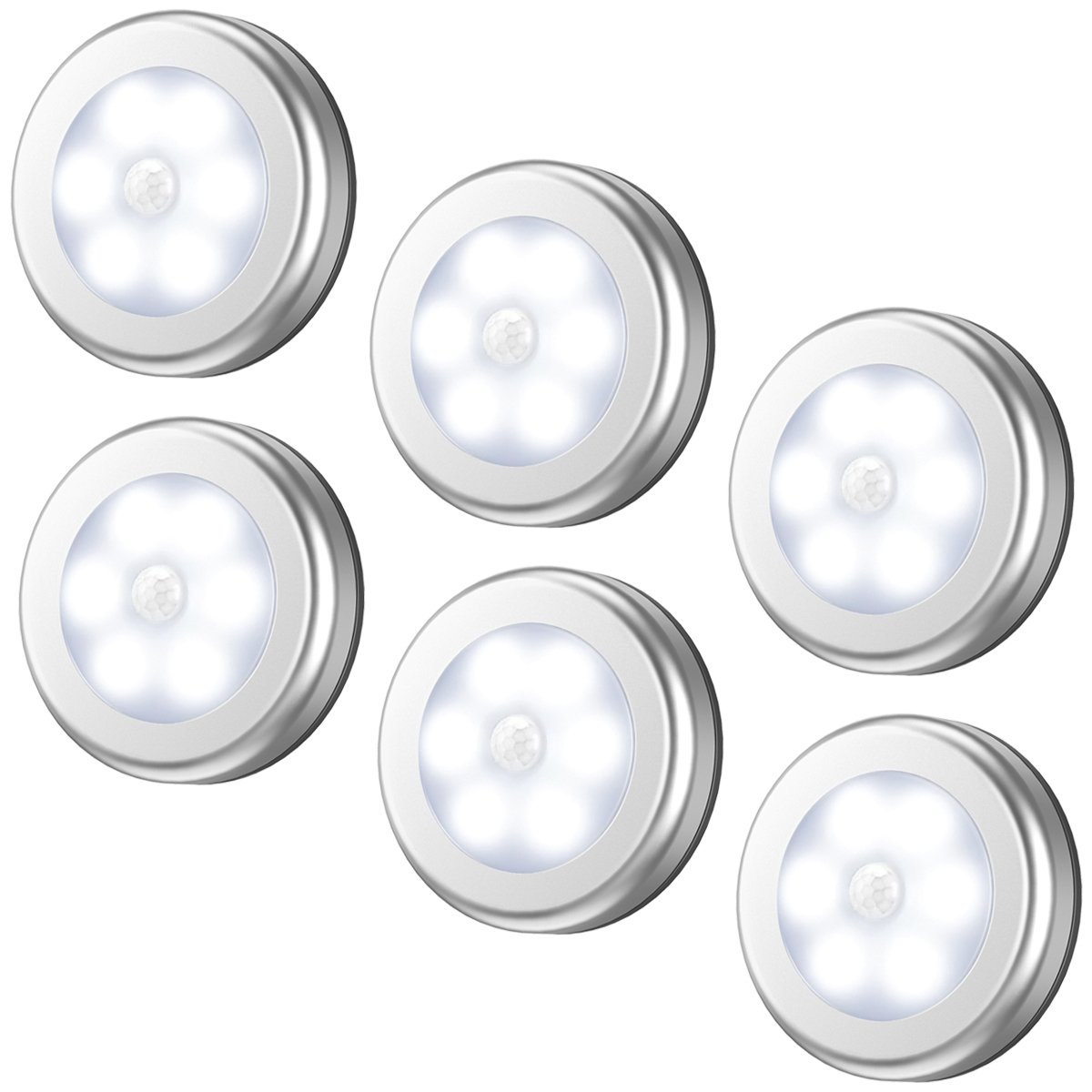 AMIR Motion Sensor Light, Cordless Battery-Powered LED Night Light, Stick-anywhere Closet Lights Stair Lights, Puck Lights, Safe Lights for Hallway, Bathroom, Bedroom, Kitchen, etc.(White - Pack of 6) by AMIR