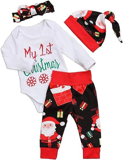Ropa Bebe Niña Chandal Bebe Niña 4 Piezas Del Bebé De La Navidad ...