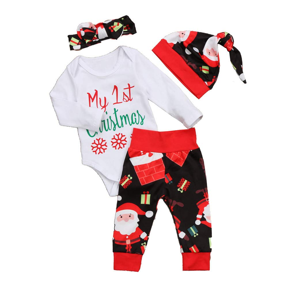 4PCS Christmas Toddler Custome Baby Letter Print Romper+Santa Claus Print Pants+Hat+Headbands Outfit Set (6-12 Months, White) Fdsd