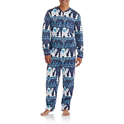 Mens Ugly Sweater Christmas Abominable Snowman Union Suit Pajamas (X-Large 46/48)