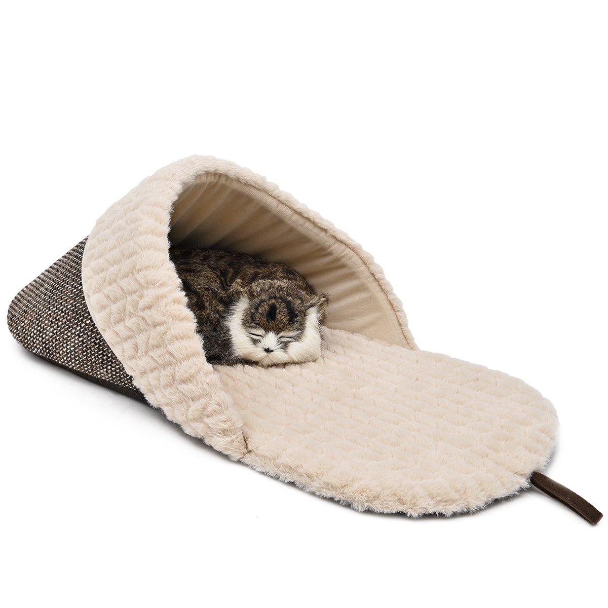 OHANA Chausson Sac de Couchage Chaud et Portable, Corbeille Niche en Forme de Chausson Super Confortable pour Chat Chaton à Se Coucher L - 72 x 34 x 25 cm