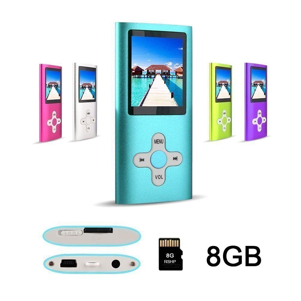 MP3 Player,XPLUS MP3 Player with a 8 GB Micro SD card and High Quality Earphones, Fashion Portable Digital Music Player / Video / Media Player / FM Radio / E-Book Reader, Ultra Slim 1.8\