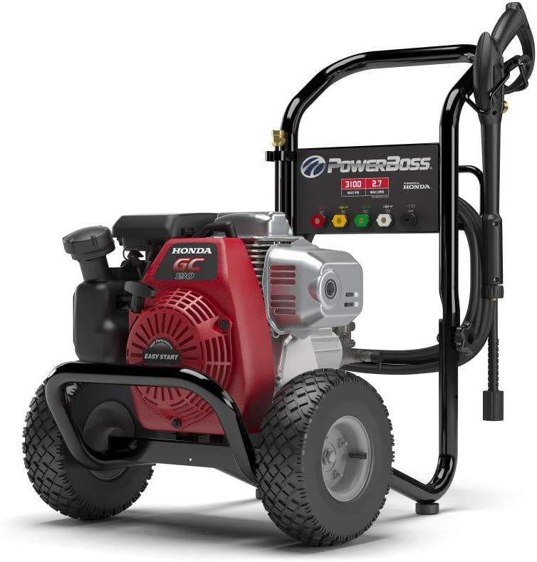 PowerBoss 3100 MAX PSI at 2.3 GPM Gas Pressure Washer with 30-Foot Hose, and 5 Quick-Connect Nozzles, Powered by Honda