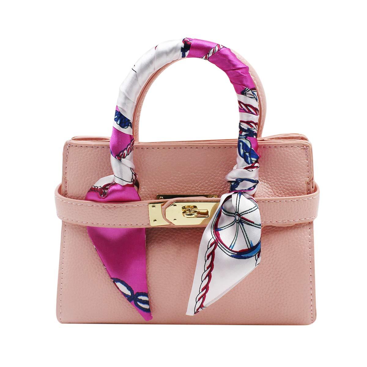 女児 キッズ ファッション 財布 クロスボディ サッチェル トート ハンドバッグ シルクスカーフ付き  ライトピンク B07S161HMB
