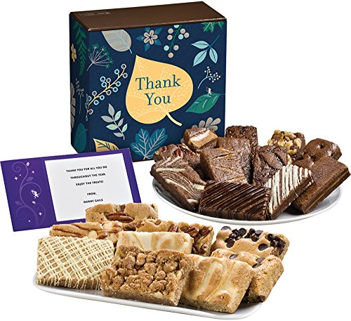 Fairytale Brownies Thank You Bar & Sprite Combo Gourmet Food Gift Basket Chocolate Box - 3 Inch x 1.5 Inch Snack-Size Brownies and 3 Inch x 2 Inch Blondie Bars - 21 Pieces (Gourmet Snack Combo)